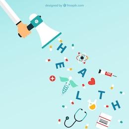 Megáfono e iconos médicos