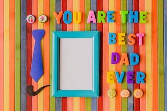 """Mensaje de """"eres el mejor papá de todos"""" con un marco para una foto"""