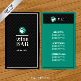 Menú de bar de vino