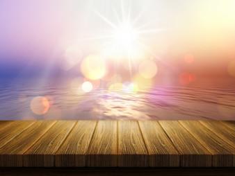 Mesa de madera con una imagen de un océano desenfocada de puesta de sol