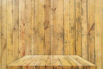 Mesa de madera o estante con fondo