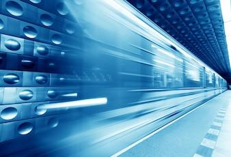 Metro azul difuso