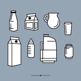 Colección de vectores de envases de leche