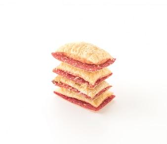 Mini tarta de galletas con mermelada de fresa