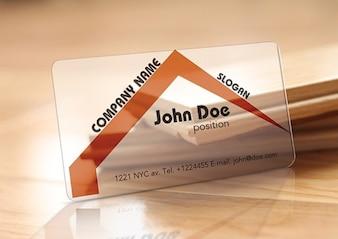 Mínima tarjeta de visita transparente