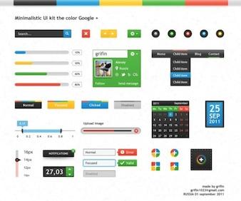 minimalistas ui kit de Google y colores psd