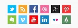 Mínimas iconos de redes sociales en las plazas