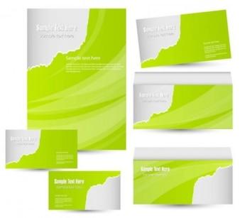misc plantilla verde tarjeta blanca brillante onda de negocios inteligente