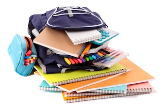 Mochila de escuela con libros y equipamiento