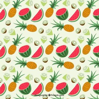 Modelo con las frutas tropicales
