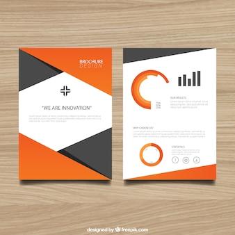 Modelo de folleto con elementos de color naranja