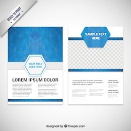 Modelo de folleto con polígonos azules