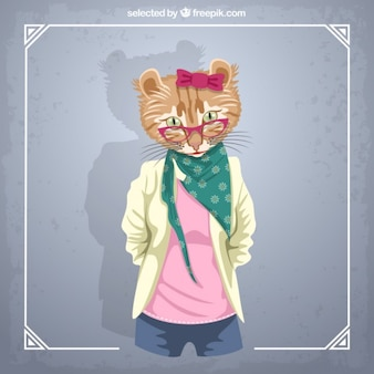 Modelo de moda gato femenino