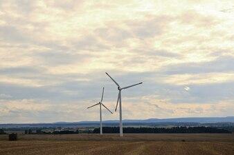 Molinos de viento en los campos
