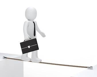 Monigote con un maletín caminando sobre una cuerda