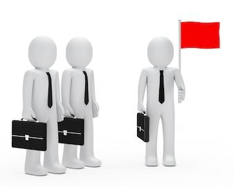Monigote con una bandera roja y otros mirando