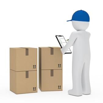 Monigote con una gorra azul revisando las cajas
