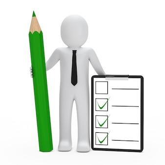Monigote con una lista de comprobación y un lápiz verde