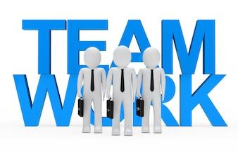 Monigote enfrente de la palabra azul  team work