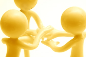 Monigotes con las manos juntas