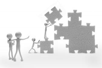 Monigotes construyendo un puzzle