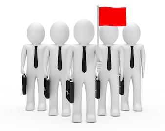 Monigotes de pie y uno con una bandera roja