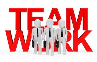 Monigotes enfrente de la palabra roja  team work