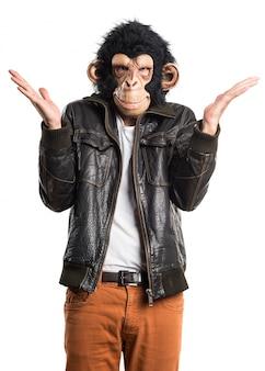 Mono, hombre, sorpresa, gesto
