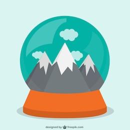 Montañas dentro de un globo de nieve
