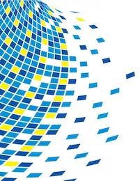Mosaico de piezas azules y amarillas sobre fondo claro
