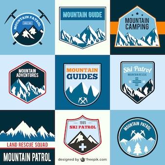 Etiquetas de aventura en la montaña