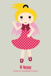 Muchacha de la muñeca ángel lindo con el vestido de puntos