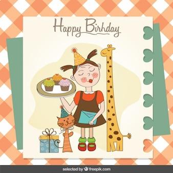 Muchacha linda con la tarjeta de cumpleaños de los animales