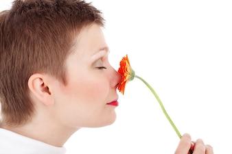 mujer adulta joven belleza cara flor fresco