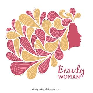 Mujer con el pelo abstracto