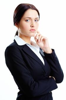 Mujer de negocios hermosa vista líder
