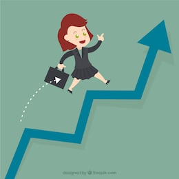 Mujer empresaria salta sobre una gráfica creciente
