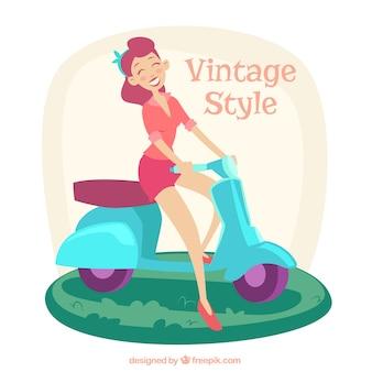 Mujer en una motocicleta en el estilo vintage