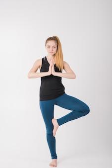 Mujer, posición, meditar
