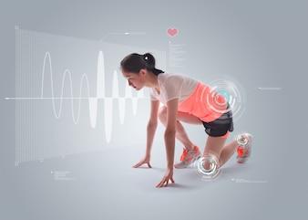 Mujer preparada para correr