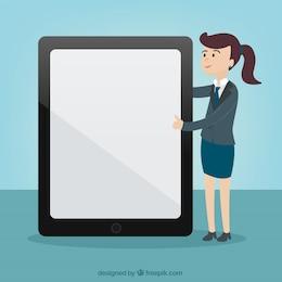 Mujer que señala a la pantalla de la tablet