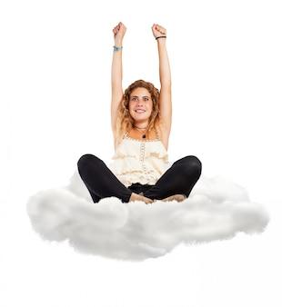 Mujer sentada en una nube