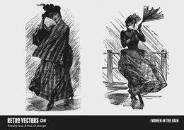 Mujeres del victorian en la lluvia