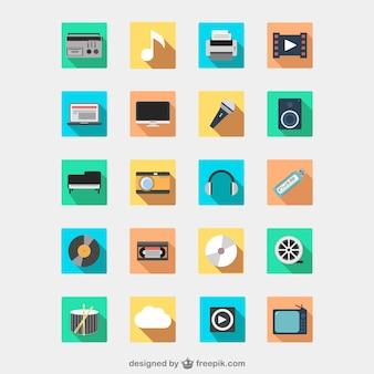 Conjunto de iconos de dispositivos multimedia