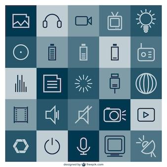 Conjunto de iconos multimedia