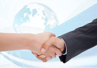 Mundo global amplia amistad trabajador éxito