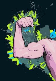 Muscular del brazo de dibujos animados vector
