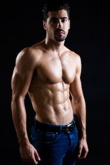 Muscular, pecho, retrato, posar, atleta