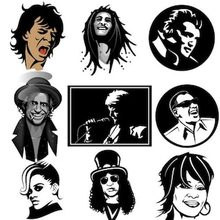 Músicos famosa colección de retratos