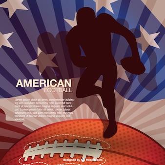 Plantilla de fútbol americano con bandera de Estados Unidos